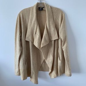 BOBEAU CARDIGAN POINTED COLLAR TAN COLOR